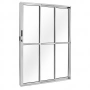 Porta De Correr Balcão Fortsul 3 Folhas 210x150cm Alumínio Branco Esquerdo Esquadrisul