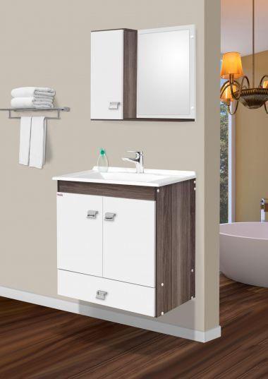 Conjunto Para Banheiro Agnus 60Cm Amendoa/Branco Fabribam