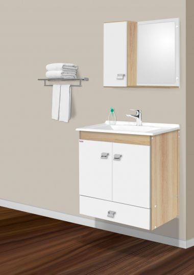 Conjunto Para Banheiro Agnus 60Cm Carvalho/Branco Fabribam