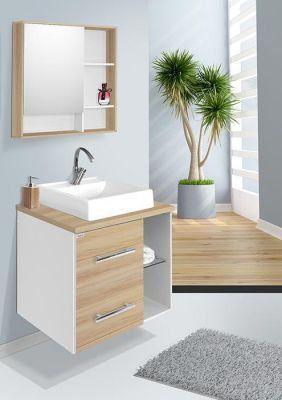 Conjunto Para Banheiro Blocc 60Cm Branco/Carvalho Fabriban