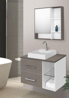 Conjunto Para Banheiro Blocc 60Cm Branco/Grigio Fabriban
