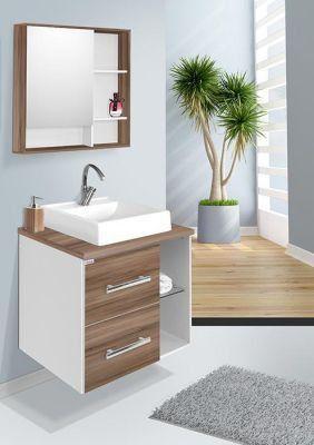 Conjunto Para Banheiro Blocc 60Cm Branco/Nogal Fabriban