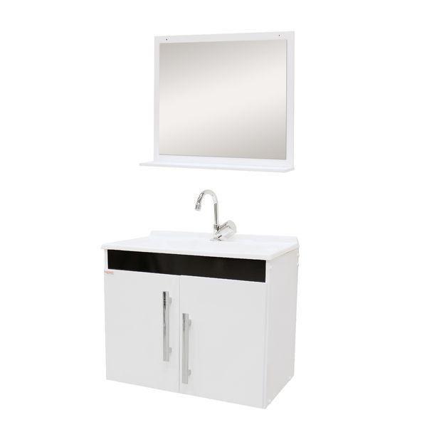 Conjunto Para Banheiro Tebas 60Cm Branco/Preto Fabribam