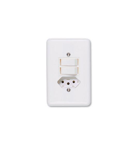 Conjunto De Interruptor Simples Com Tomada10A Stylus 20211 Ilumi