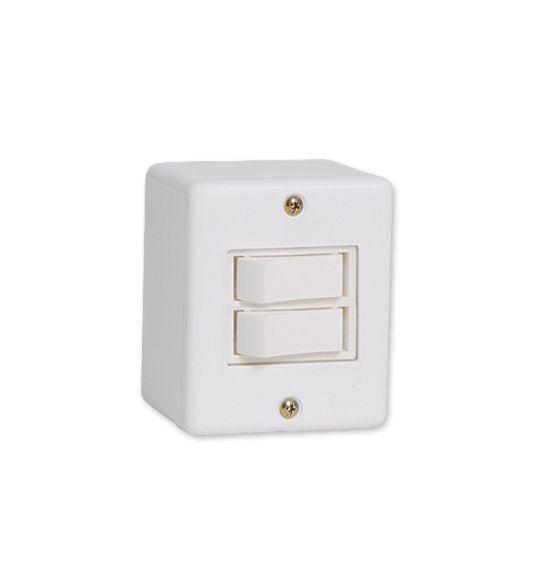 Conjunto De Sobrepor 2 Interruptor Simples 6318 Ilumi
