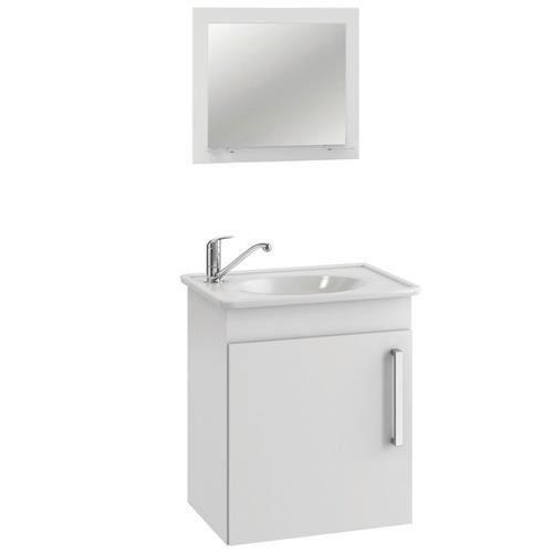 Conjunto Para Banheiro Viena 42X50 Com Espelho Branco  Mgm
