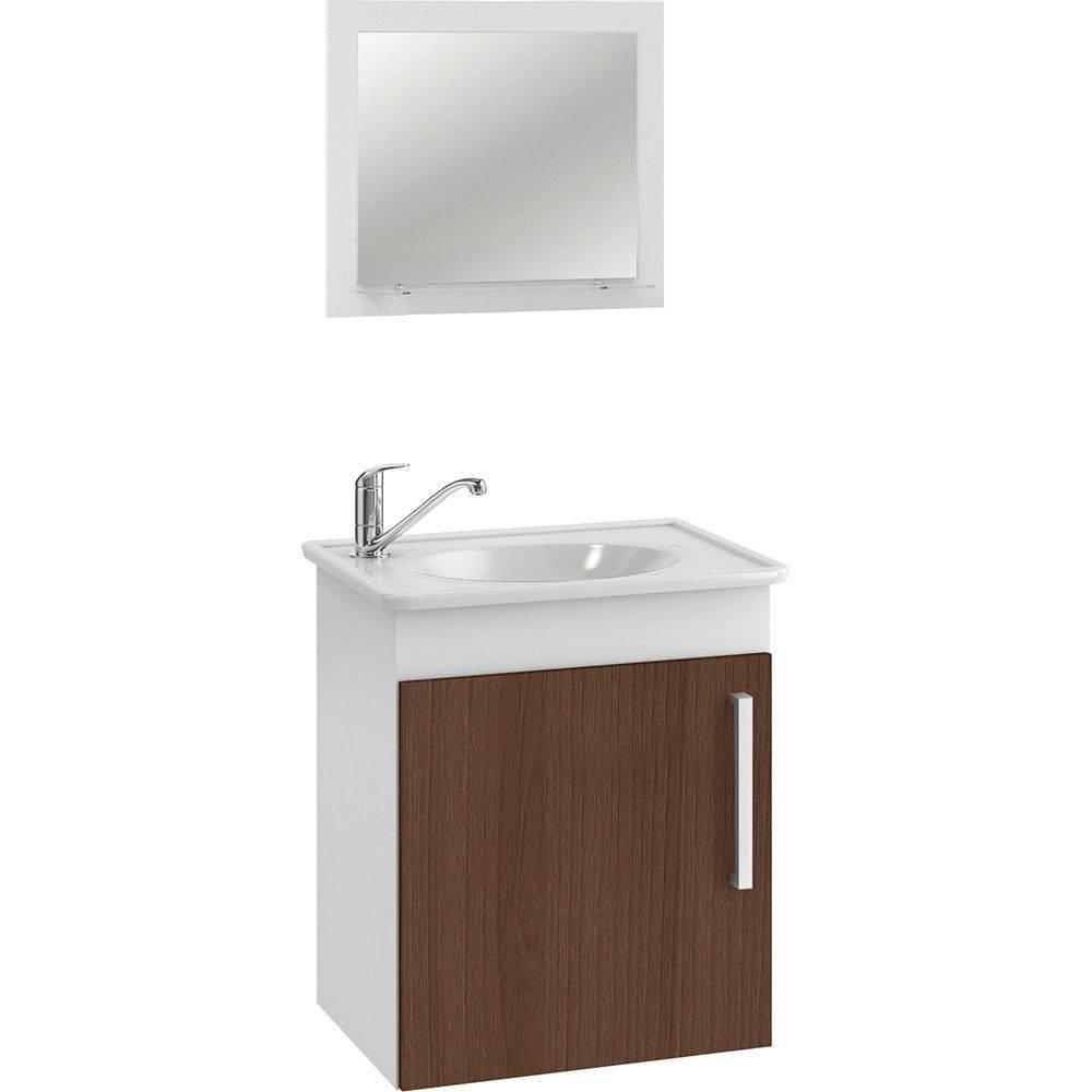 Conjunto Para Banheiro  Viena 42X50 Com Espelho Castanho Mgm