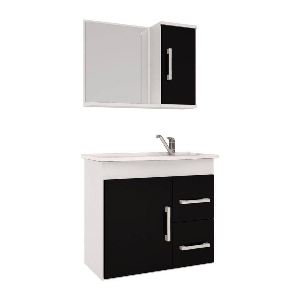 Conjunto Para Banheiro Vix 65X60 Com Espelho Branco e Preto Mgm