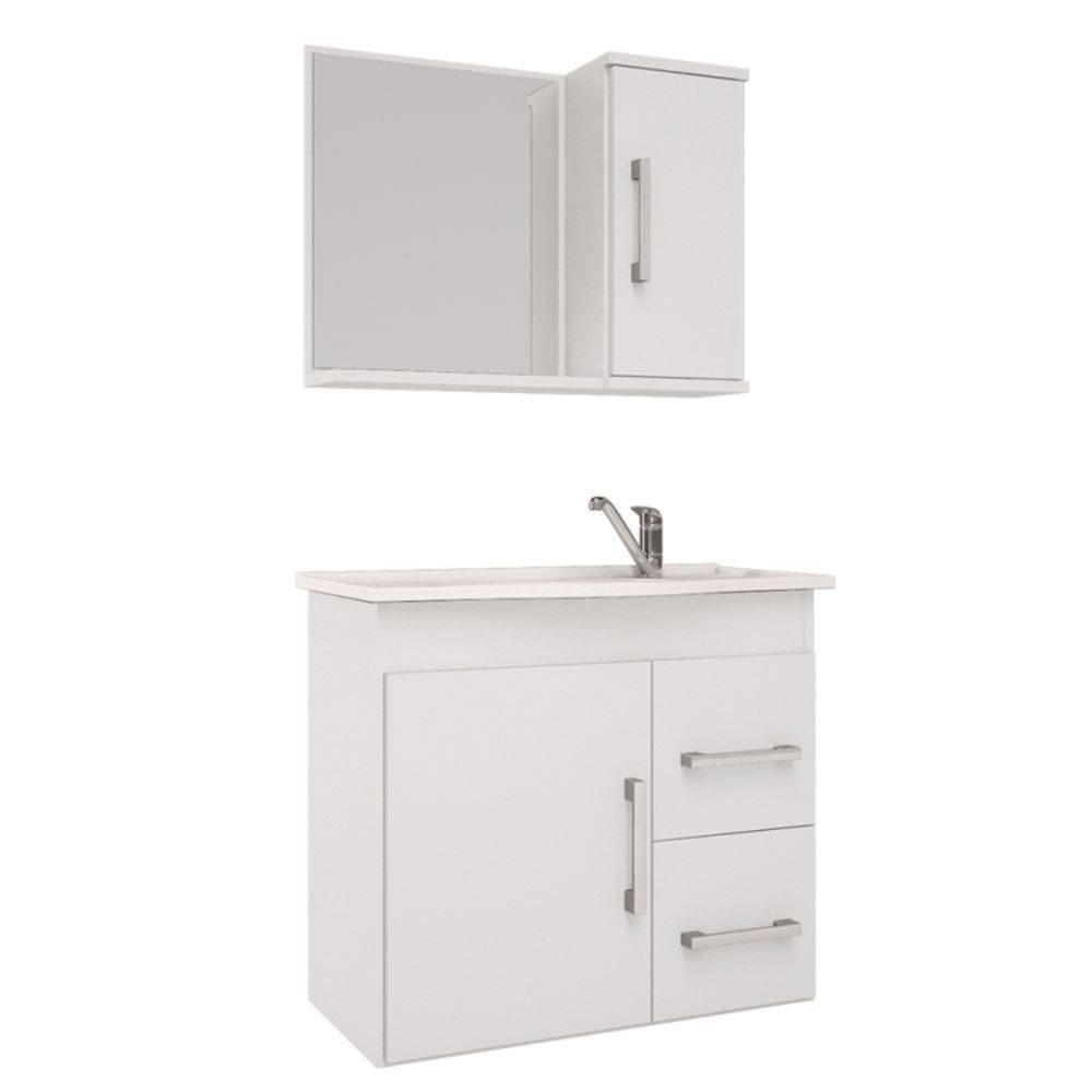 Conjunto Para Banheiro  Vix 65X60 Com Espelheira Branco Mgm