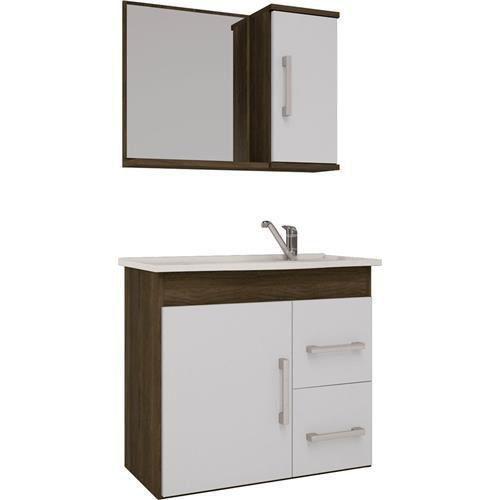 Conjunto Para Banheiro Vix 65X60 Com Espelho Castanho e Branco Mgm