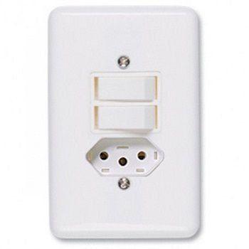Conjunto Stylus 1 Interruptor Simples +1 Interruptor Paralelo +1 Tomada 2029 Ilumi