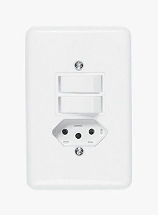 Conjunto Stylus 1 Interruptor Simples +1 Interruptor Paralelo + Tomada 20290 Ilumi
