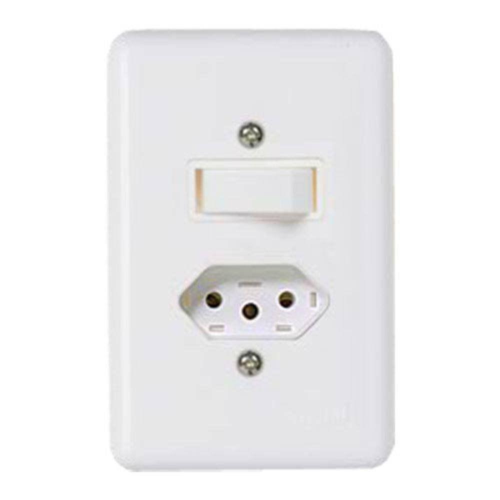 Conjunto Stylus 1 Interruptor Simples +Tomada 20A 20201 Ilumi