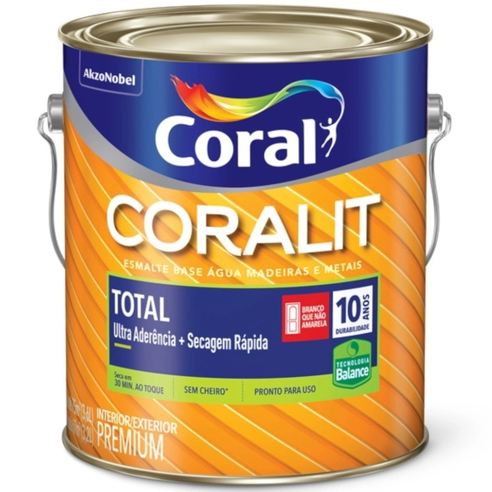 Esmalte Coralit Total Base Água Brilhante Branco 3,6 Litros Coral