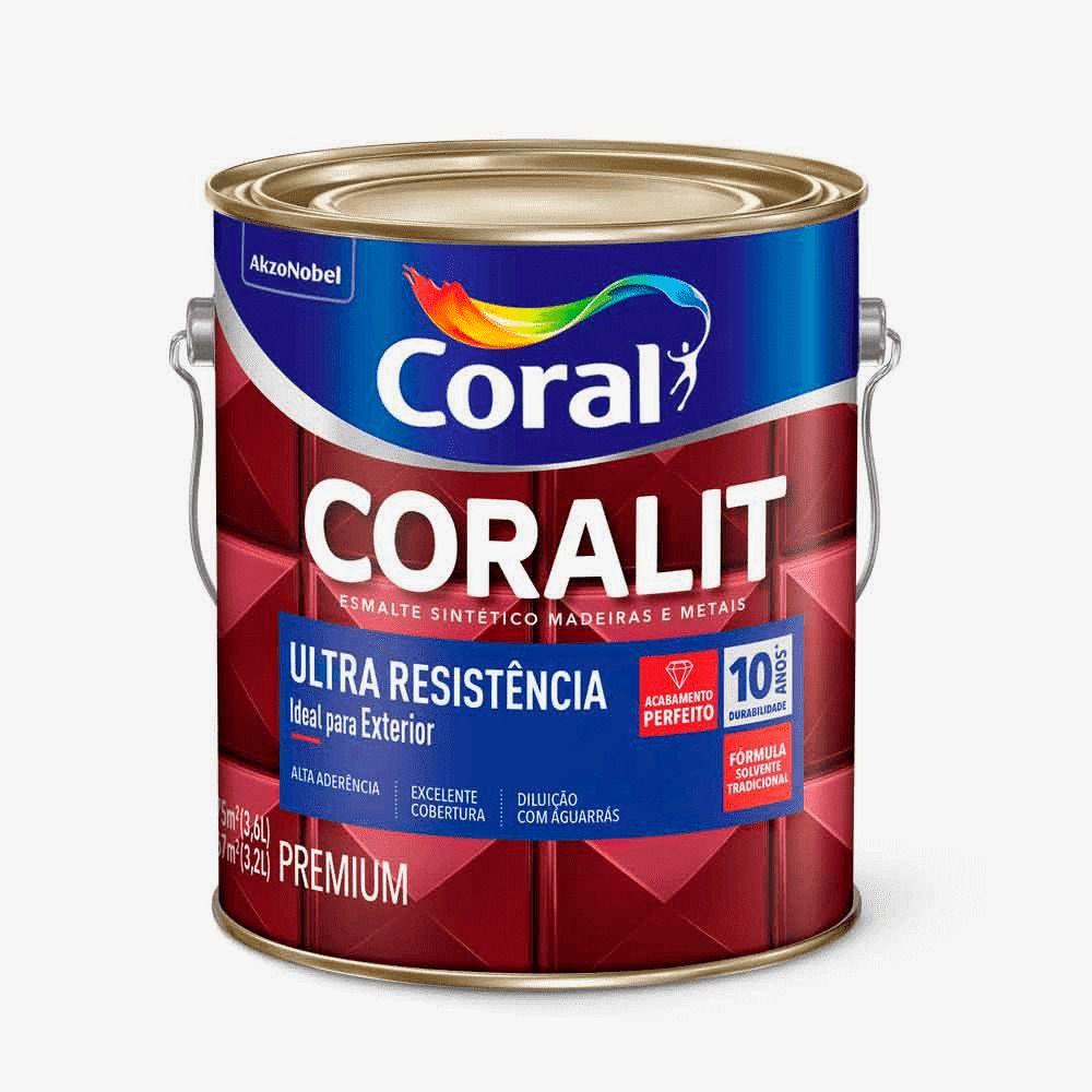 Esmalte Coralit Ultra Resistência Alto Fosco Branco 3,6 Litros Coral