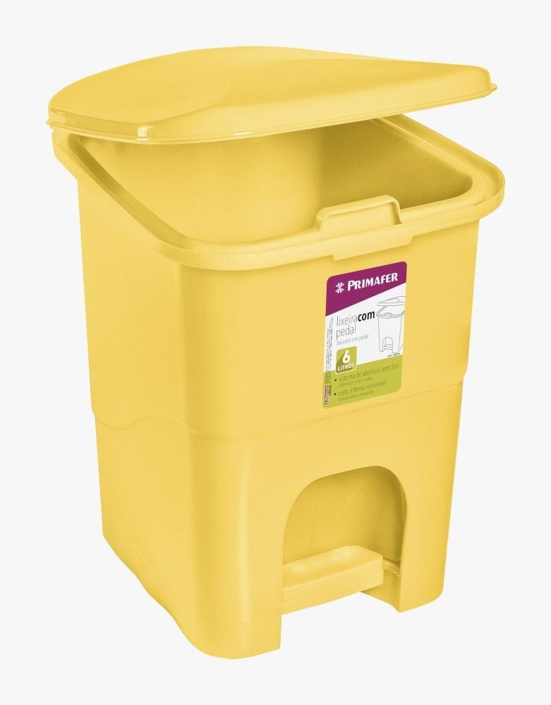 Lixeira Retangular Com Pedal Plastico Amarelo 6 Litros Primafer