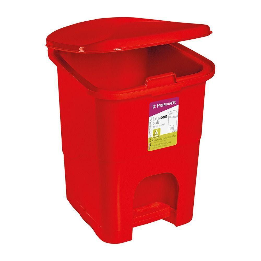 Lixeira Retangular Com Pedal Plastico Vermelha 6 Litros Primafer