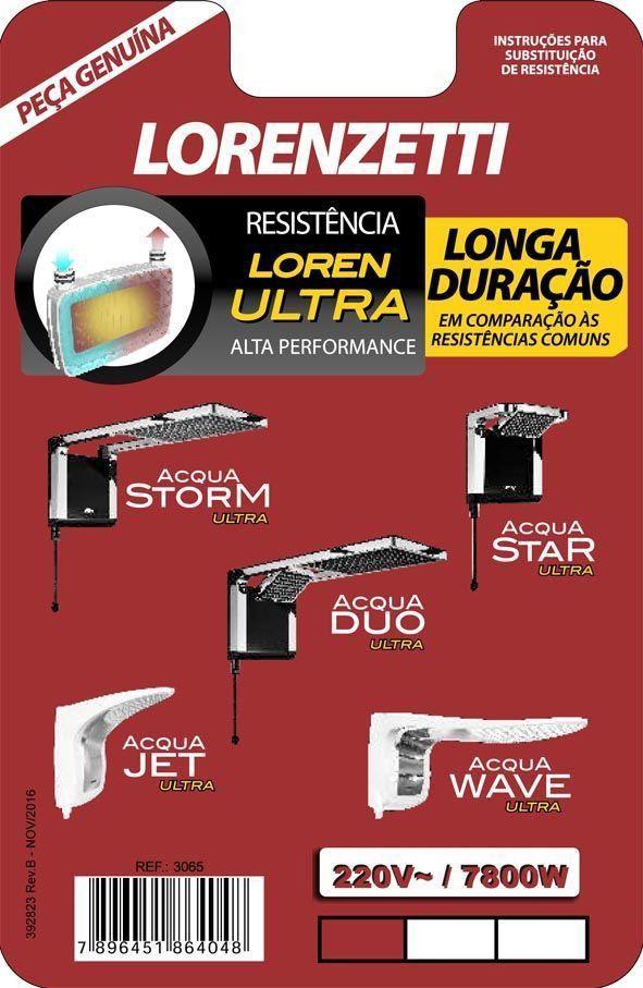 Resistência Para Ducha Acqua Storm Ultra /Acqua Star / Acqua Duo /Aqua Jet e Acqua Wave 7800W 220V 3065-B Lorenzetti