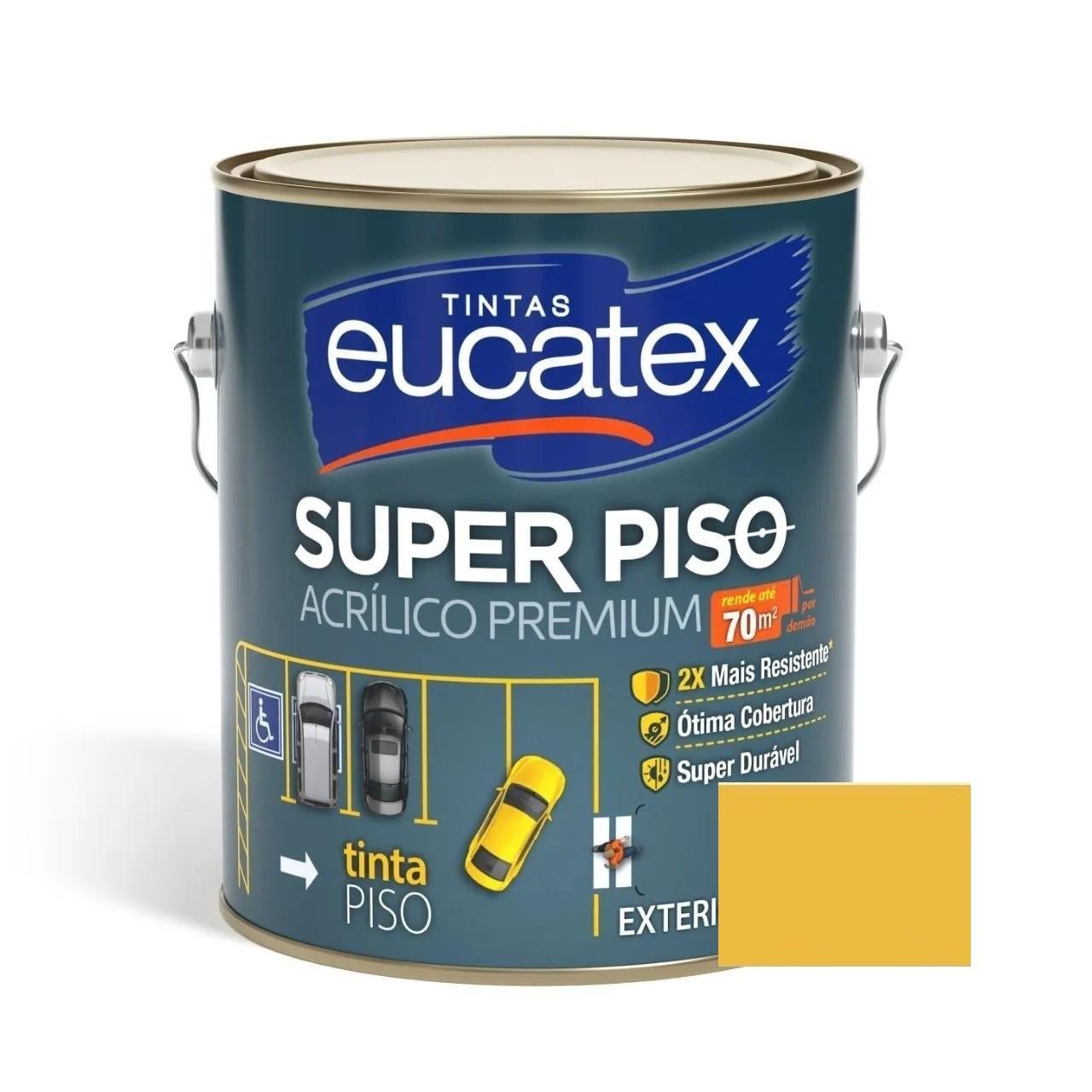 Tinta Super Piso Acrílico Premium Amarelo Demarcação 3,6 Litros Eucatex