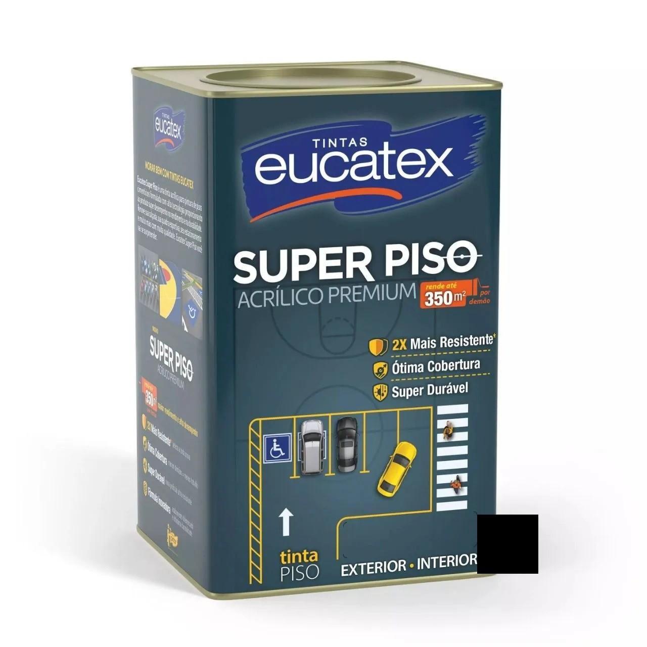 Tinta Super Piso Acrílico Premium Preto 18 Litros Eucatex