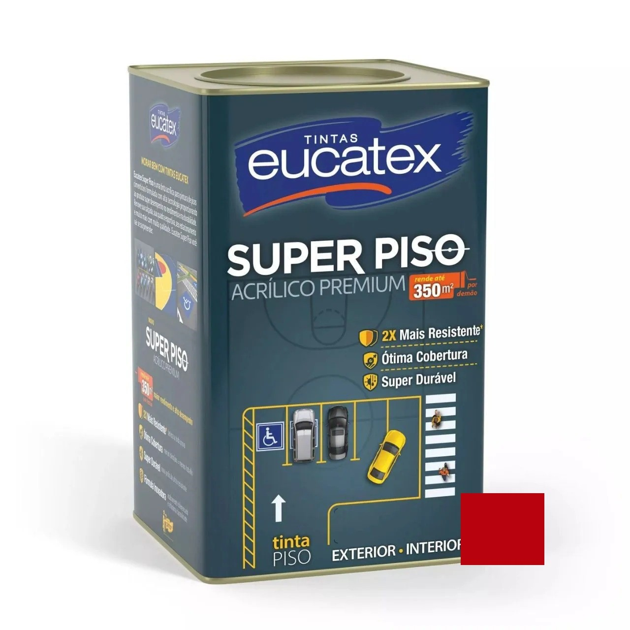 Tinta Super Piso Acrílico Premium Vermelho 18 Litros Eucatex