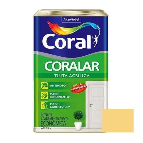 Tinta Coralar Acrílico Fosco Amarelo Canário 18 Litros Coral