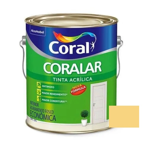 Tinta Coralar Acrílico Fosco Amarelo Canário 3,6 Litros Coral