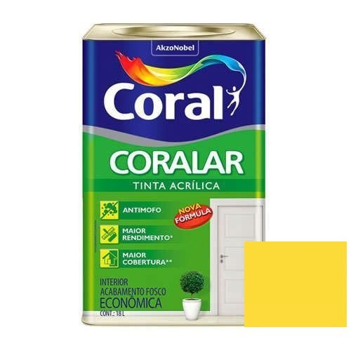 Tinta Coralar Acrílico Fosco Amarelo Frevo 18 Litros Coral