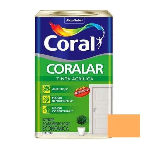Tinta Coralar Acrílico Fosco Laranja Cítrico 18 Litros Coral
