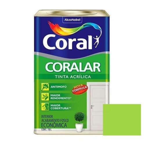 Tinta Coralar Acrílico Fosco Verde Limão 18 Litros Coral