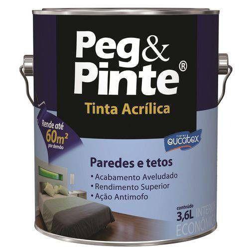 Tinta Peg&Pinte Acrilica Branco Neve Galão 3,6 Litros Eucatex