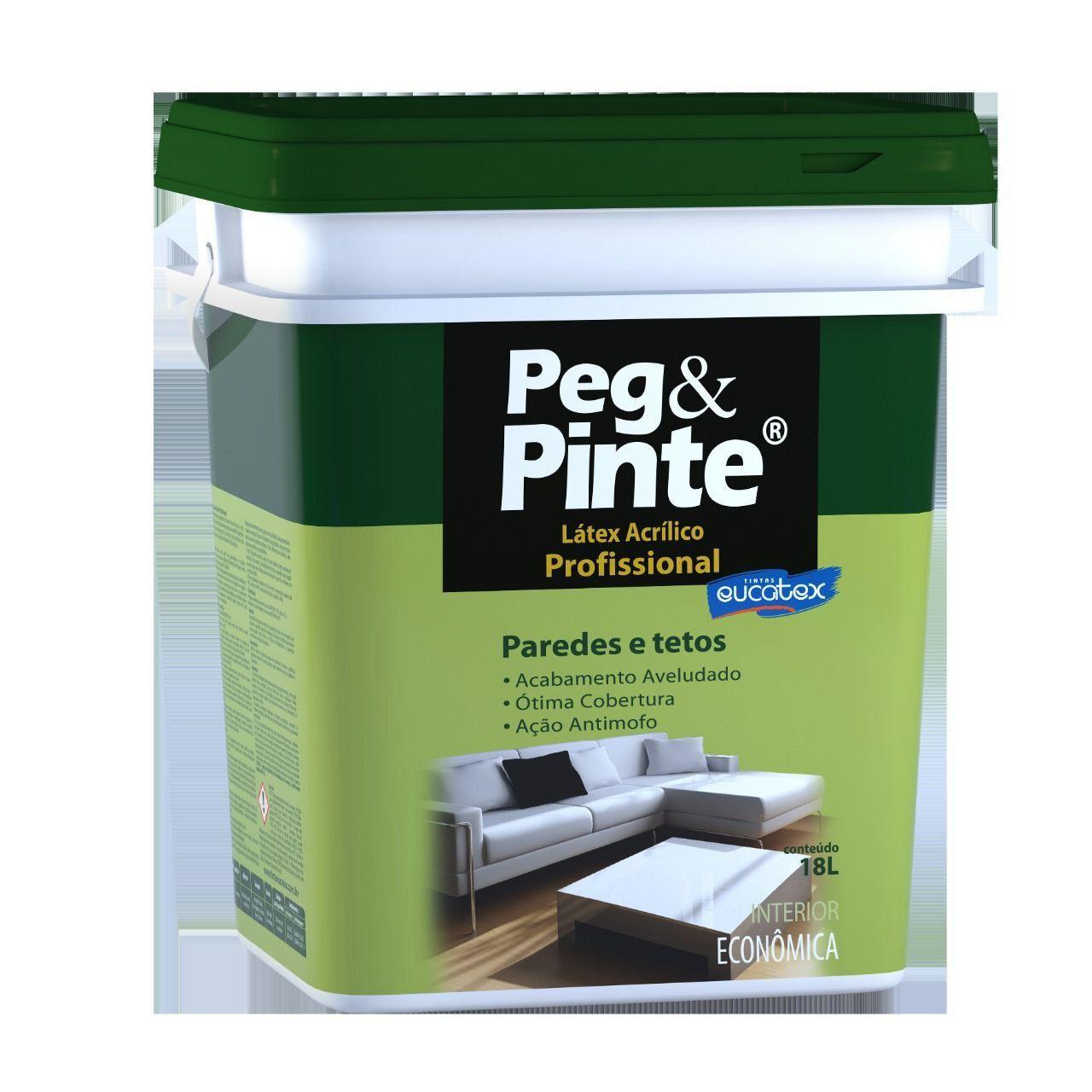 Tinta Peg&Pinte Profissional Latex Acrilico Branco 18 Litros Balde Peg Pinte