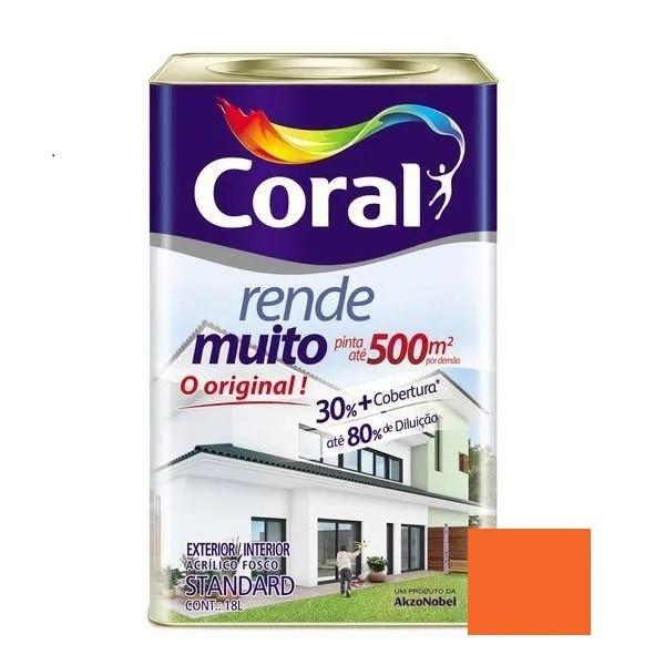 Tinta Rende Muito Acrílico Fosco Laranja Maracatu 18 Litros Coral