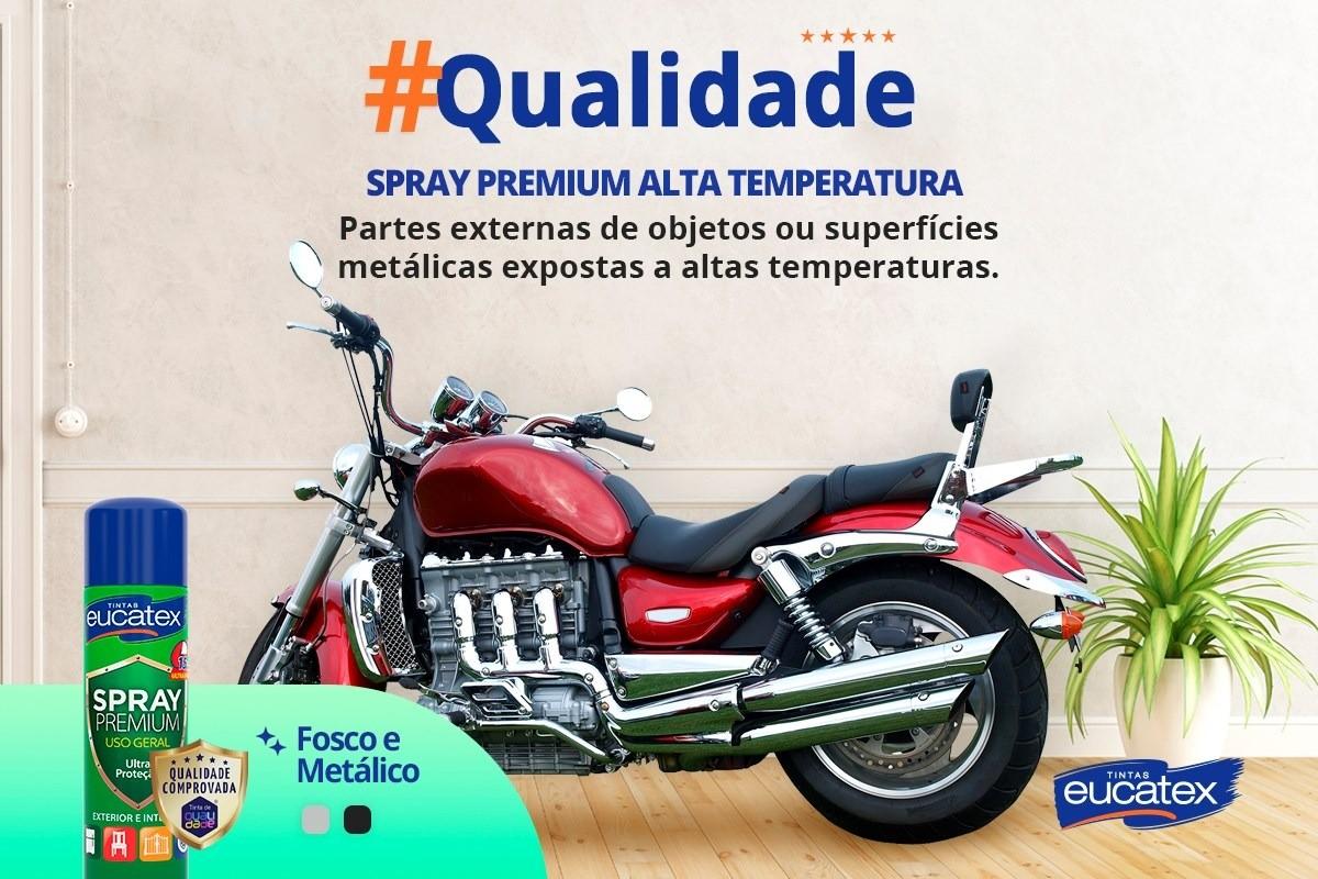 Tinta Spray Premium Alta Temperatura Fosco Preto 400ml Eucatex