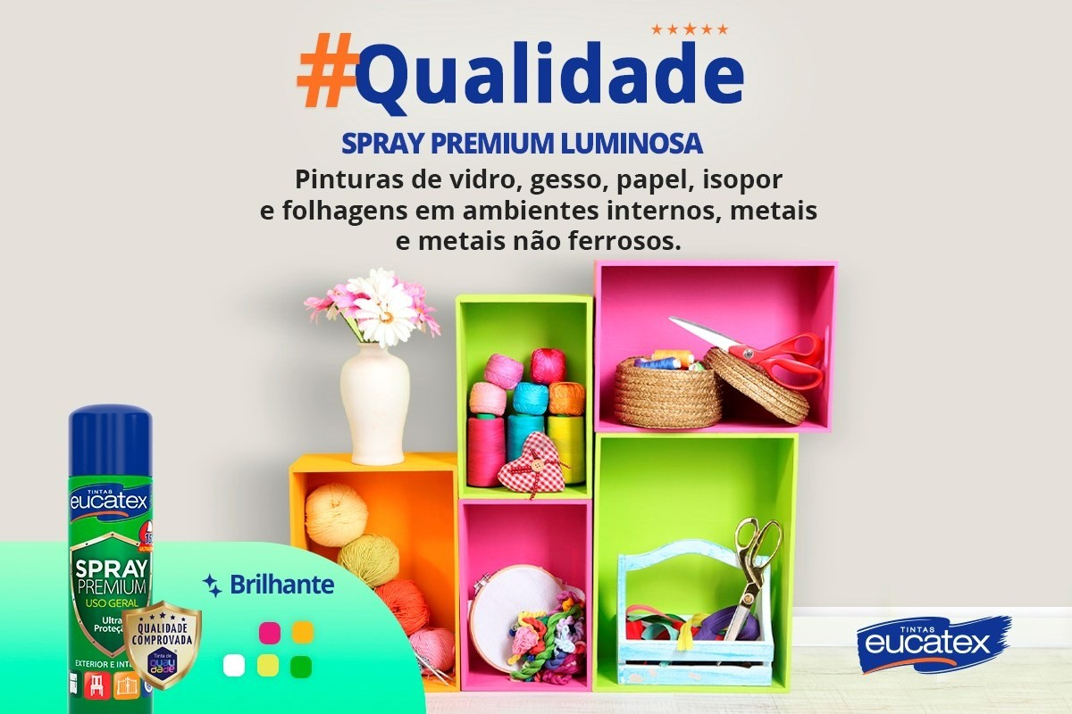 Tinta Spray Premium Luminosa Laranja 400ml Eucatex