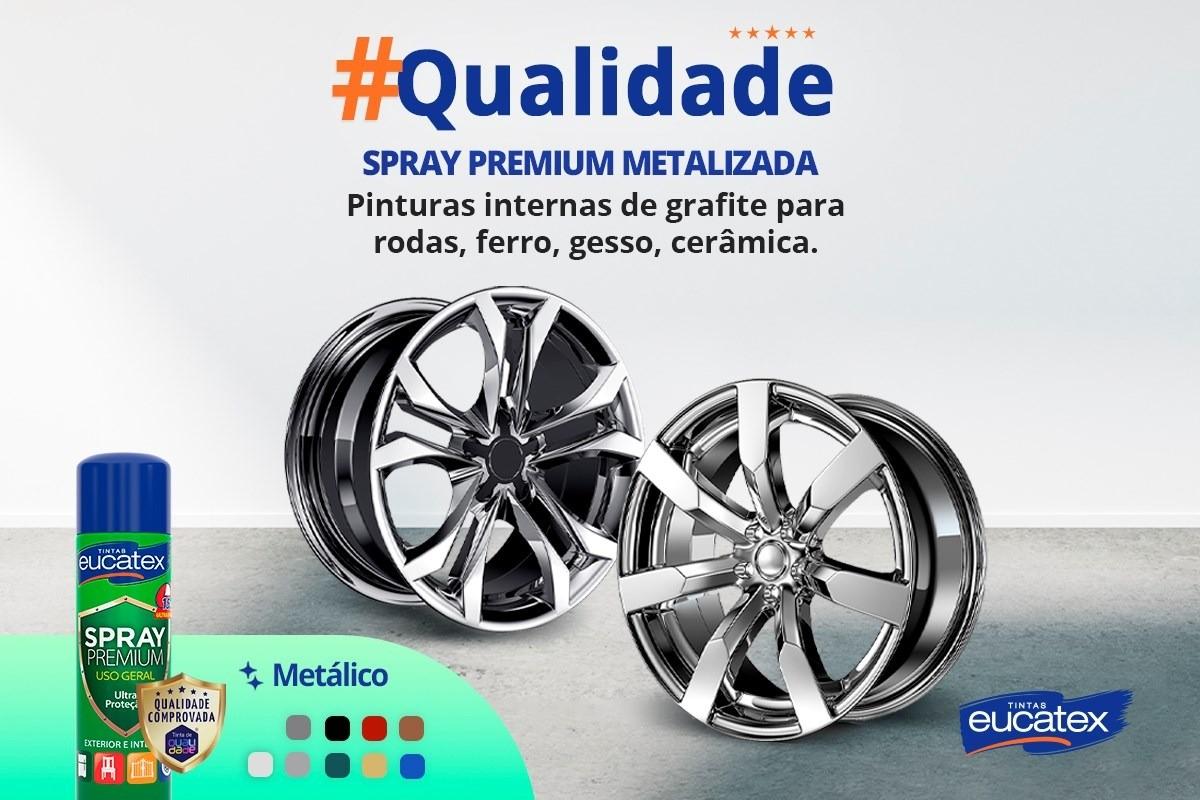 Tinta Spray Premium Metalizada Prata 400ml Eucatex