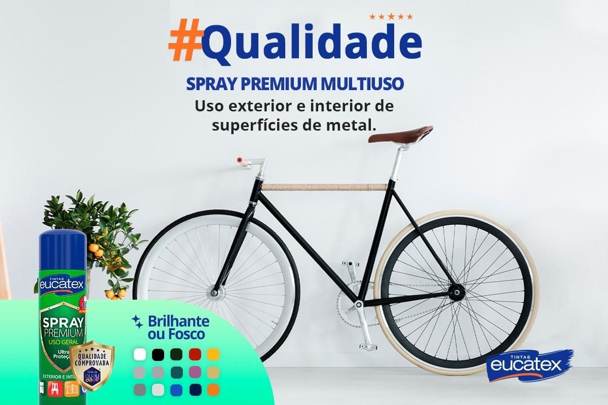 Tinta Spray Premium Multiuso Brilhante Preto 400ml Eucatex