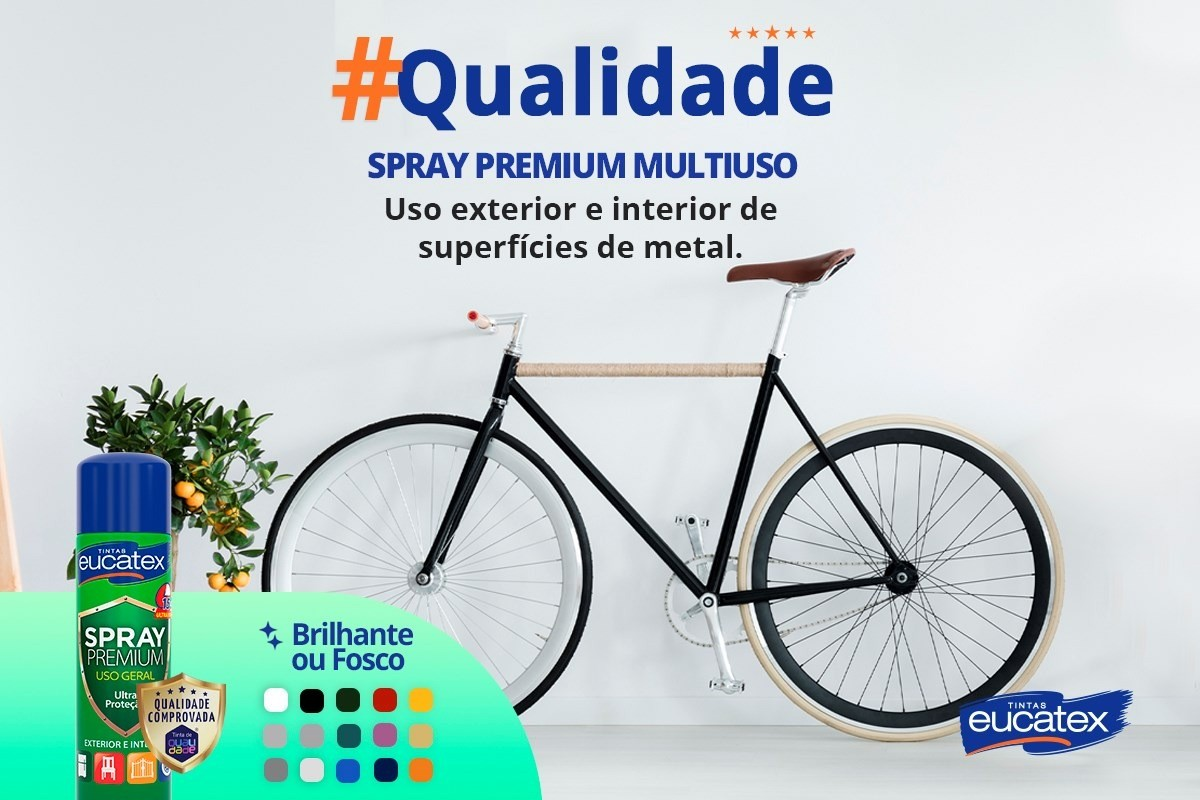 Tinta Spray Premium Multiuso Fosco Preto Eucatex