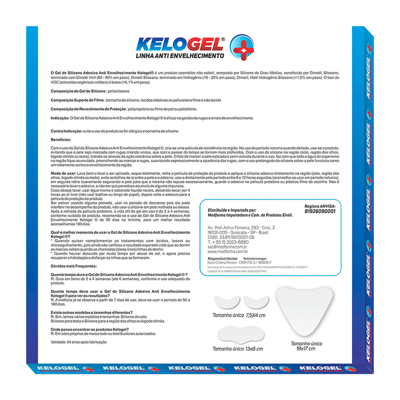 Adesivo de Silicone Antissinais 1 Colo + 1 Testa + 2un Olhos Kelogel