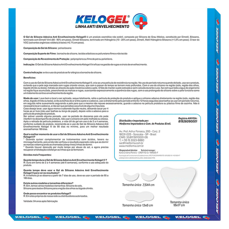 Adesivo de Silicone Antissinais 1 Testa + 4un Olhos ou Bigode Kelogel