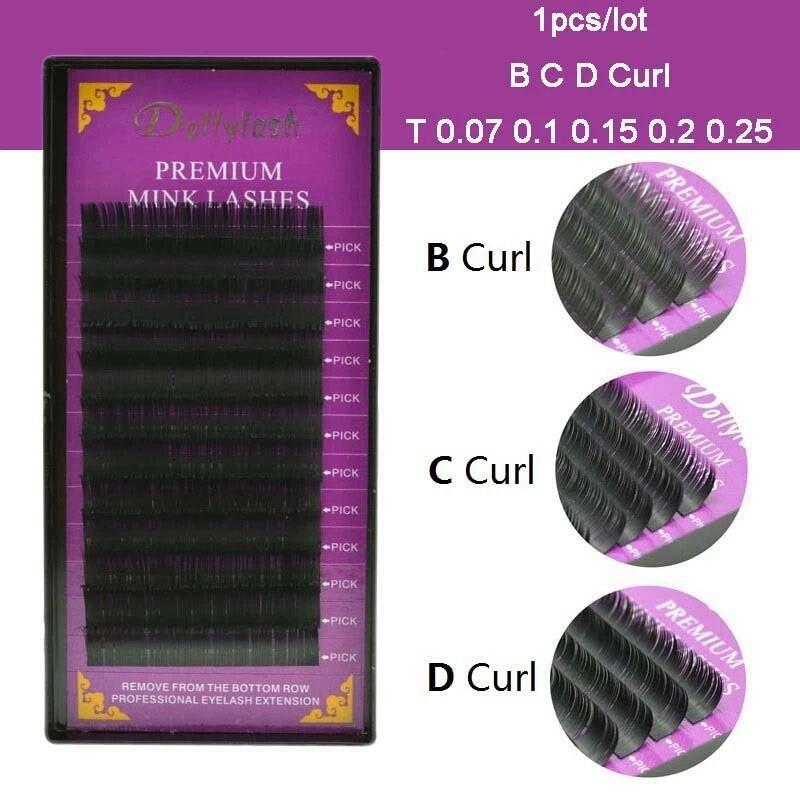Cílios Dollylash para Extensão 3D/ Vol. Russo C x 0.07mm 12fls