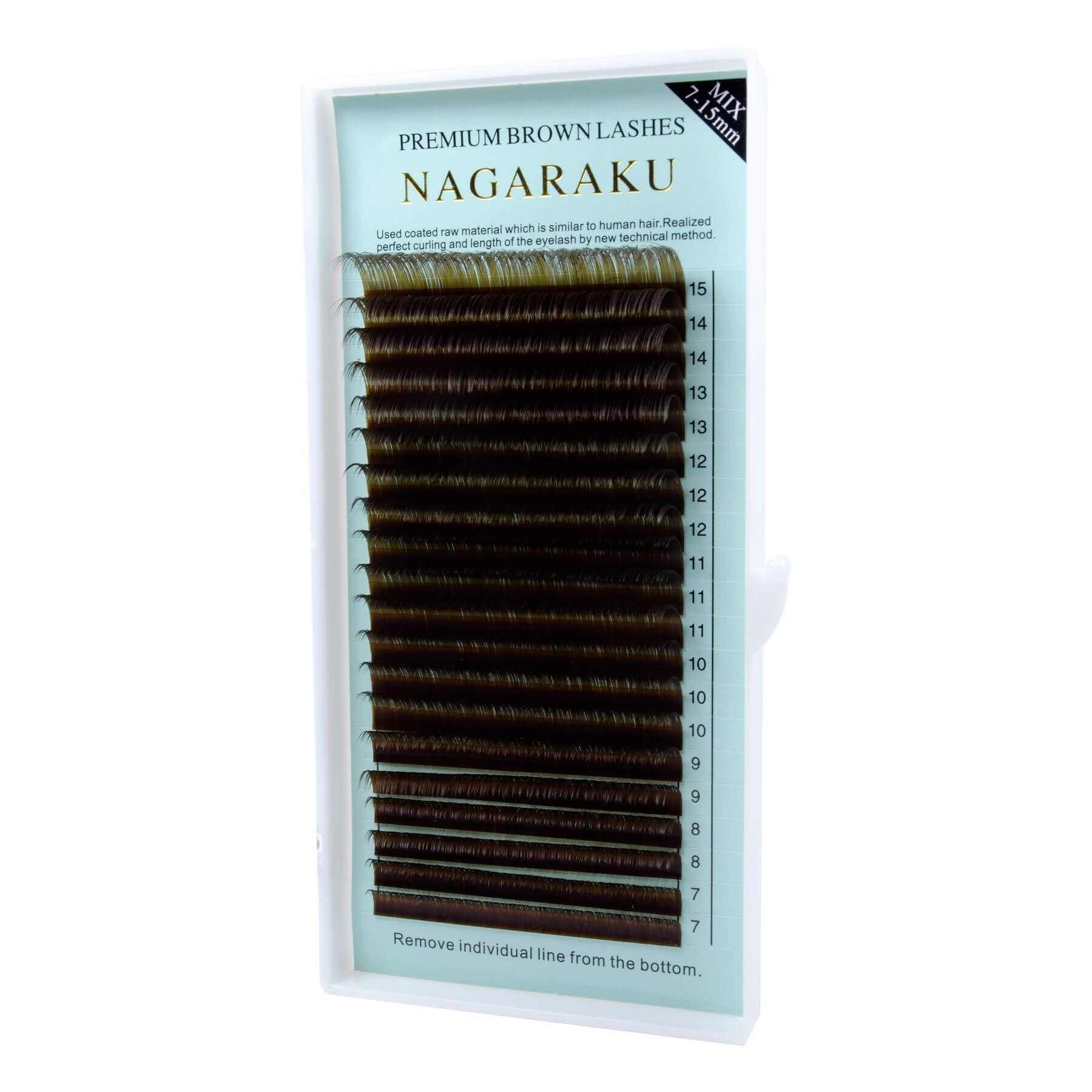 Cílios Nagaraku Fio a Fio Marrom Curvatura D Mix