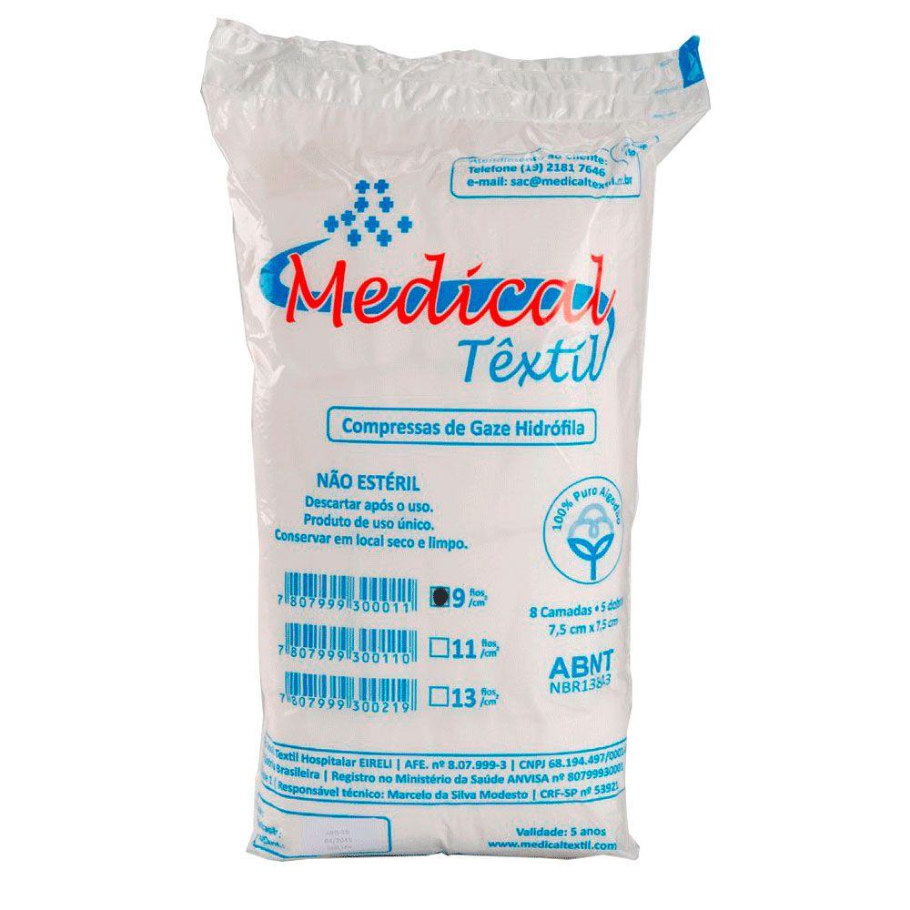 Compressa de Gaze Não Estéril Medical Textil 9 Fios 500un