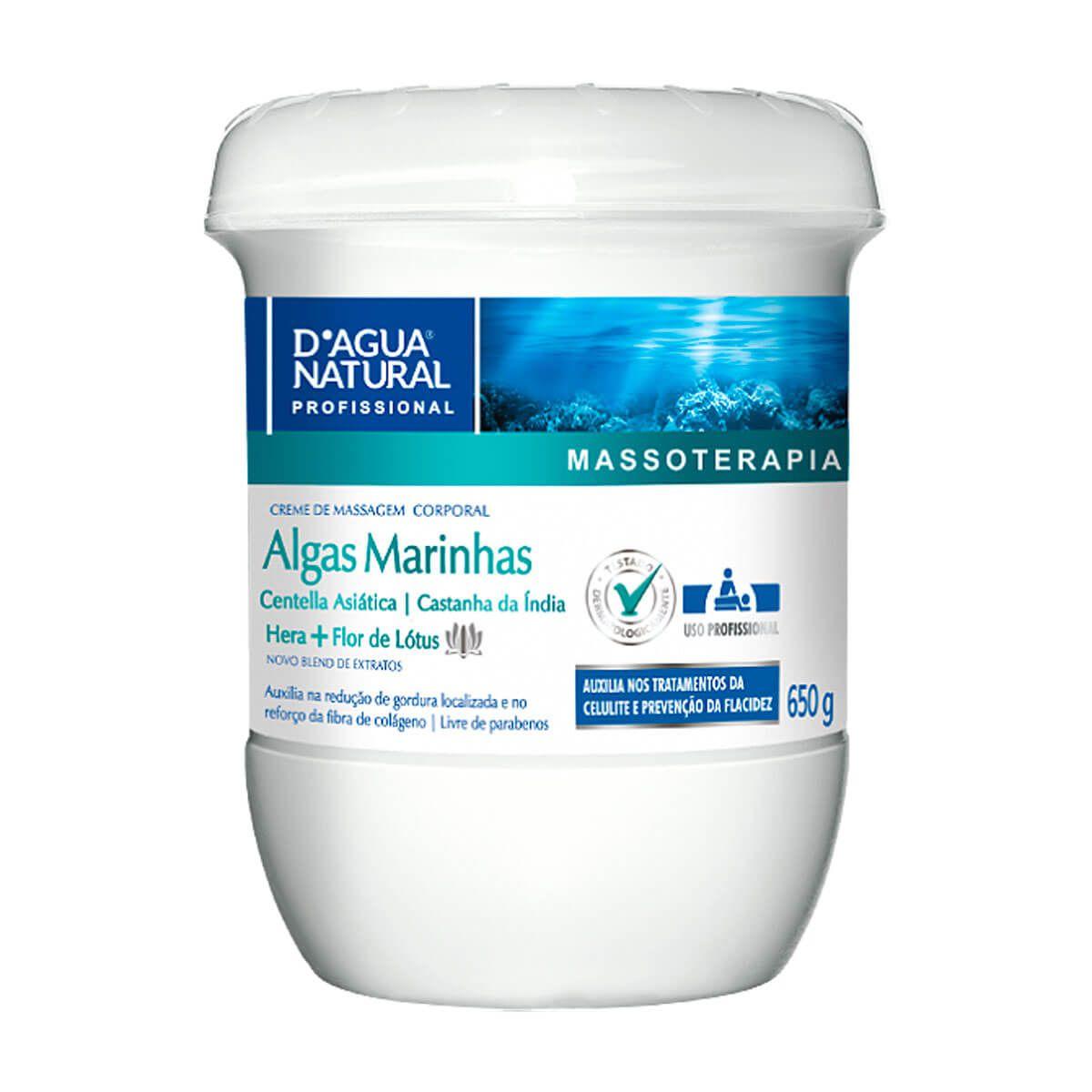 Creme de Massagem D'Água Natural Algas Marinhas 650g