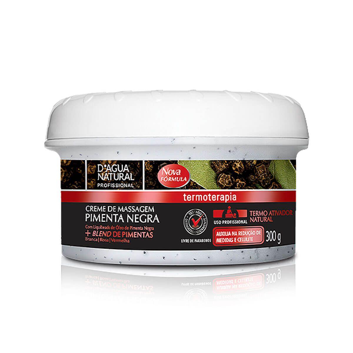 Creme de Massagem D'Água Natural Pimenta Negra 300g