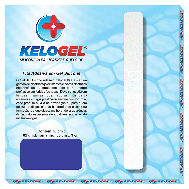 Fita Adesiva Kelogel em Gel de Silicone para Cicatriz 70x3cm (2 Fitas 35cm)