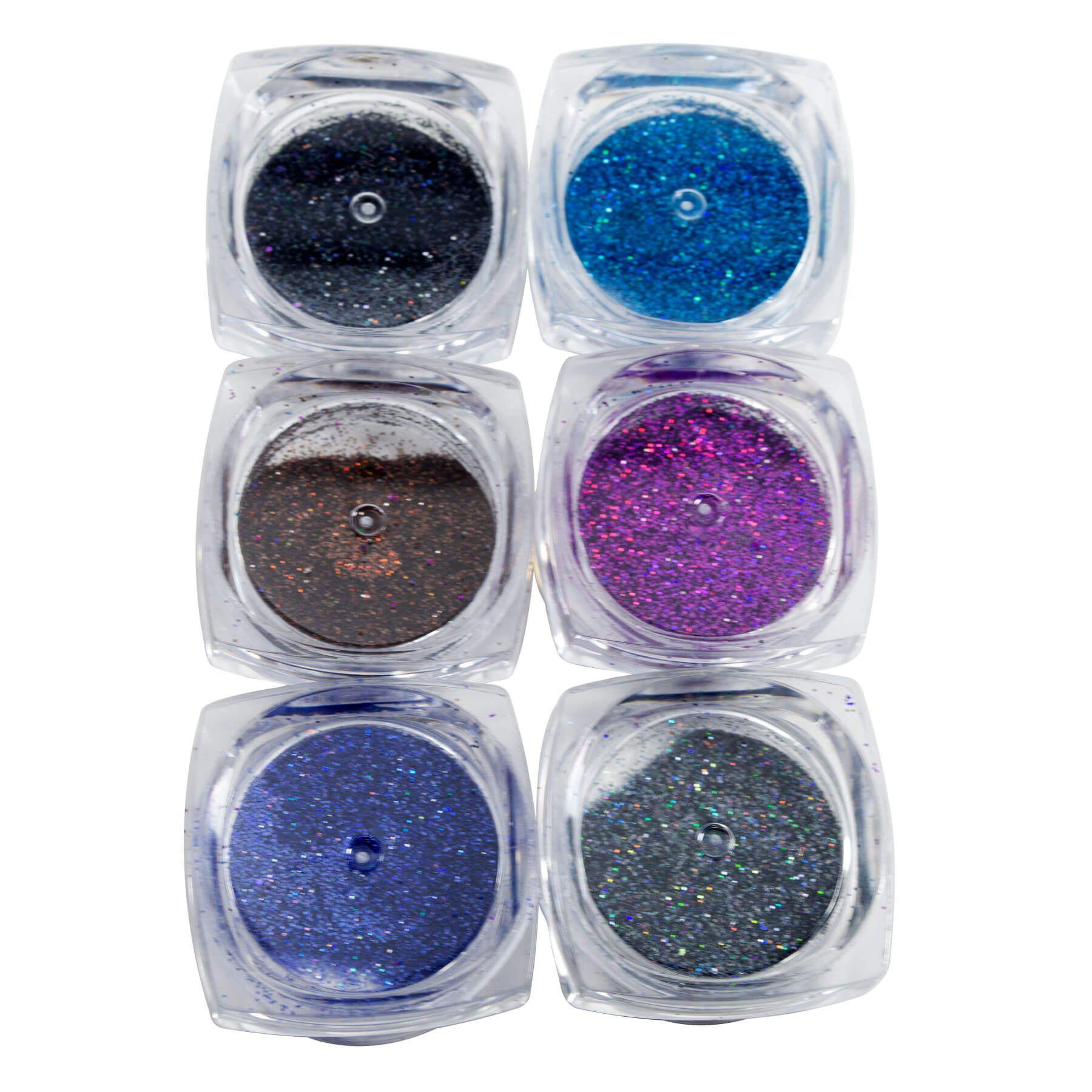 Gliter Colorido para Decoração de Unhas Caixa 6 Cores