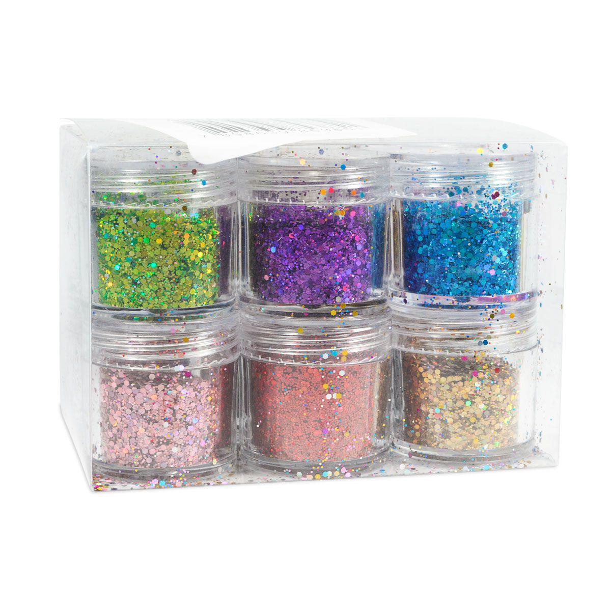 Gliter Colorido para Decoração de Unhas Caixa 12 Cores