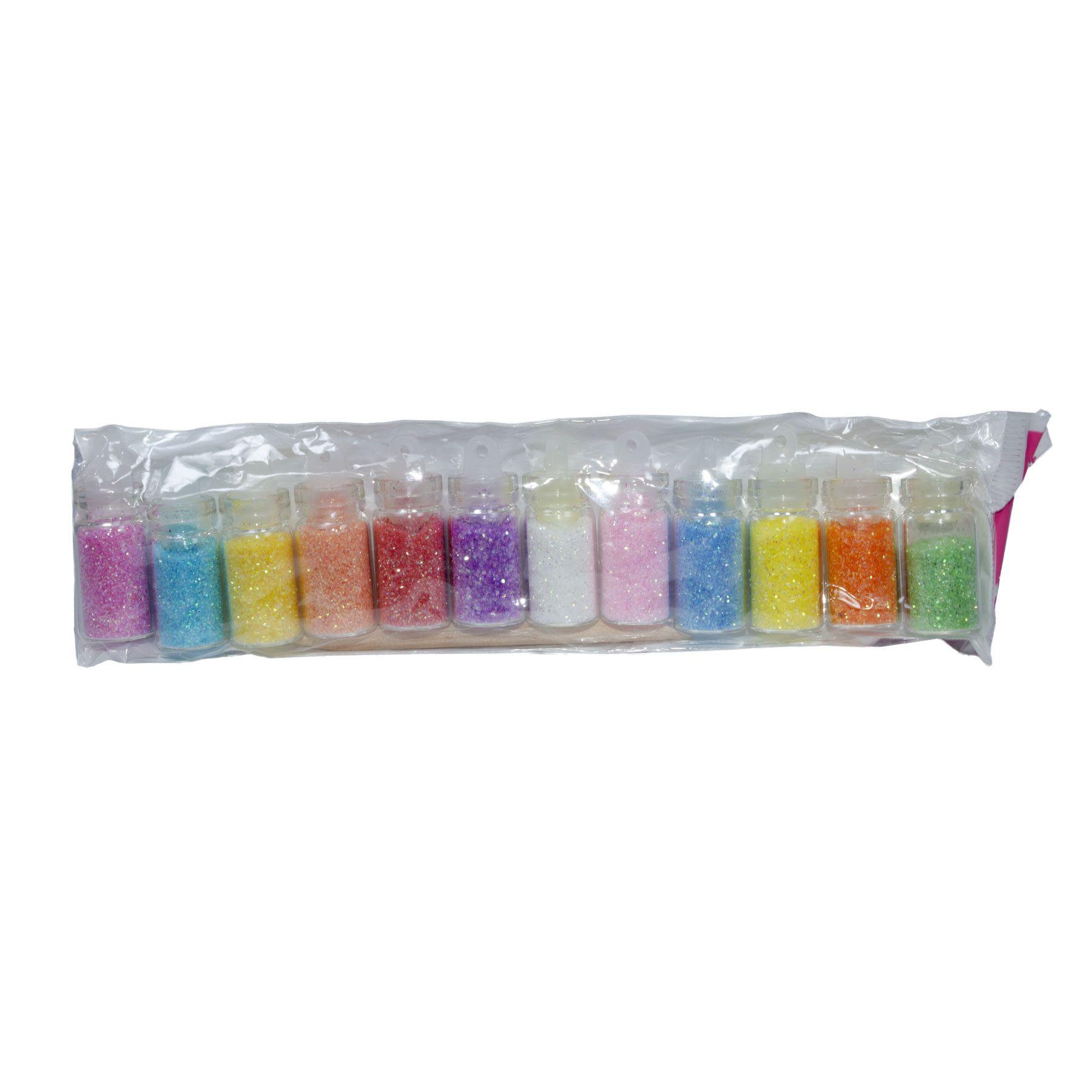 Glitter para Decoração de Unhas Nail Art Kit com 12 cores