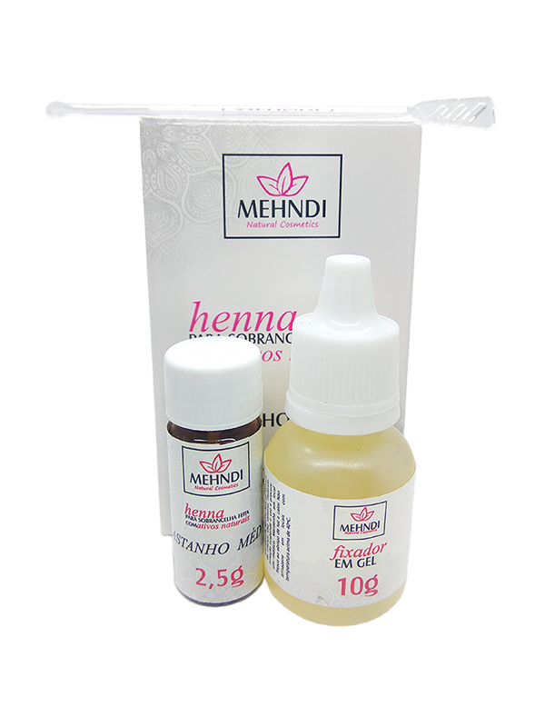 Henna Mehndi para Sobrancelha 2,5gr com Fixador Castanho Claro